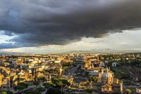 Rome during the sunset hours. Panorama from the viewing terrace of the Victor Emmanuel II Monument (Monumento Nazionale a Vittorio Emanuele II). Rome,...