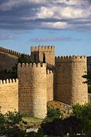 Medieval monumental walls, UNESCO World Heritage Site. Avila city. Castilla León, Spain Europe.