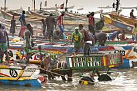 fishing boats harbor senegal