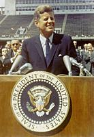 USA Rice University -- 12 Sep 1962 -- US President Kennedy speaks before a crowd of 35,000 people at Rice University in the football field. The follow...