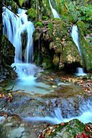 Toberia waterfall in a beech wood of Andoin, Alava, Spain.
