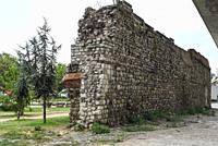 Ruins of ancient Galata Walls or Walls of Constantinople located in Istanbul,Turkey.