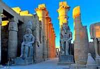 Statues of Ramses II in the First Court and Colonnade, Luxor Temple, Luxor, Upper Egypt, Egypt
