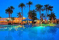 Swimming pool facilities of Mercure Hotel, Karnak near Luxor, Upper Egypt, Egypt