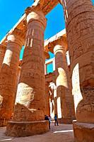 Column hall in Karnak temple, Karnak near Luxor, Upper Egypt, Egypt