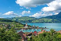 Lake Thun with townscape of Spiez, Bernese Oberland, Switzerland, Europe.