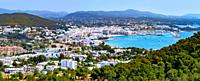 Santa Eulalia Eularia des Riu skyline Ibiza at Balearic Islands.