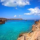 Cala Xuclar beach of Ibiza in Sant Joan of Balearic Islands.
