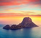 Es Vedra islet sunset in Sant Josep of Balearic Islands.