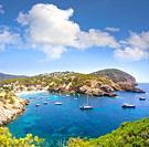 Ibiza Cala Vadella alse Vedella beach in Sant Josep of Balearic Islands.