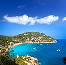 Ibiza Cala Sant Vicent also San Vicente aerial in Balearic Islands.