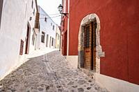 Ibiza Eivissa downtown Dalt Vila facades in Balearic Islands.