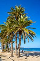 Ibiza Playa d En Bossa beach in Sant Josep of Balearic Islands.