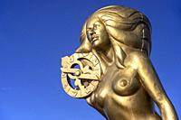 "Ganges Harbour Mermaid - Bronze mermaid statue named """"Nerissa"""" by artist: Thomas Richard McPhee - Salt Spring Island, British Columbia, Canada."