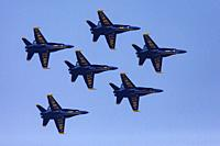 U. S. Navy Blue Angels (F/A-18 Hornets) - 2019 Fort Lauderdale Air Show, Fort Lauderdale, Florida, USA.