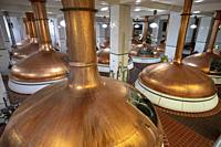 Cereal Cooker (copper fermenter tanks) in Coors Brewery - Golden, Colorado, USA.