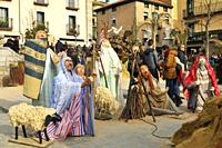 Full-scale Christmas nativity scene of San Lorenzo de El Escorial. Madrid, Spain.