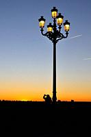 Girl taking photographs next a street lamp at the sunset in Armería Square, Madrid.