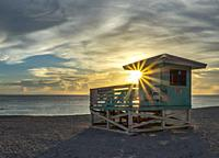 Sunset over the Gulf of Mexico from Venice Beach in Venice Florida.