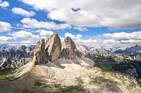 View on the Three Peaks of Lavaredo from the summit of Mount Paterno, in summer. Sesto Dolomites, Trentino Alto Adige, Italy.