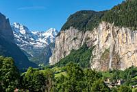 View into the Lauterbrunnen Valley with Staubbach Falls, Lauterbrunnen, Bernese Oberland, Switzerland, Europe.