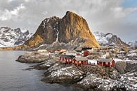 The fishing village with its traditional 'rorbus' at dawn in winter. Hamnoy, Nordland county, Northern Norway, Norway.