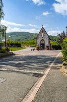 little chapel in front of the vineyard, Ammerschwihr, Alsace Wine Route, France.