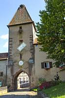 medieval gate tower and town wall of Ammerschwihr, Alsace, Wine Route, France, entrance to the old wine village.