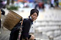 Woman From The Black Hmong Hill Tribe in Sa Pa, Lao Cai Province, Vietnam. .