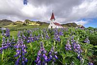 Church in Vik i Myrdal village in Iceland.