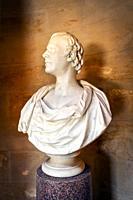 Bust of Robert Burns, the Scottish poet, in the Burns monument museum, Alloway, Ayr, Ayrshire, Scotland, UK.
