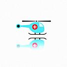 Emergency helicopter icon with reflection. Isolated vector illustration