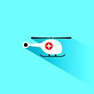 Emergency helicopter icon with shade on a blue background. Vector illustration