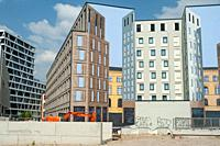 Berlin, Germany, Europe - Building site for commercial buildings with mockup facade on Heidestrasse in the Europacity in Berlin Moabit.