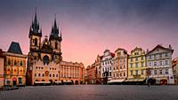 Prague, Czech Republic - March 10, 2019: Sunrise in the Old Town Square in the historical city centre of Prague.