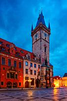 Prague, Czech Republic - March 15, 2019: Dawn in the Old Town Square in the historical city centre of Prague.