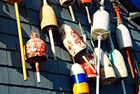 Colorful lobster buoys hang on a wall of a seafood restaurant.