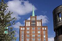 The brick house Hoch-haus (tall house) in Rostock. Following the idea of every worker a palace it was built in 1955 and with clear reference to Rostoc...