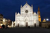 Stormy sunset at the Basilica Santa Croce. Florence, Tuscany. Italy.