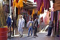 dyeing workshop in a souk of the Medina of Marrakech, Morocco, North West Africa.