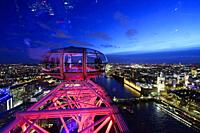 Panoramic of the city of London from London Eye, England