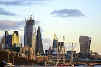 Panoramic of the financial district of London, England
