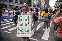 Marchers in the Queer Liberation March, the activist protest to the commercialization of Stonewall 50/ World Pride Parade, in New York on Sunday, June...