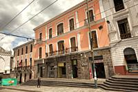 View to the colorful colonial buildings in Plaza Santo Domingo at the historic center, Quito, Ecuador, South America