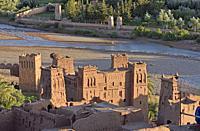 Ksar of Ait-Ben-Haddou, Ounila River valley, Ouarzazate Province, region of Draa-Tafilalet, Morocco, North West Africa.