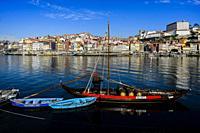 Rebelo boats in Douro river, Porto.