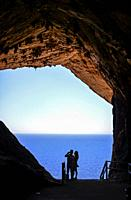 View of the Mediterranean sea from Caves of Artà (Coves dâ. . Artà) in the municipality of Capdepera, in the Northeast of the island of Mallorca, Sp...