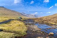 Road to Saksun in valley along river Stórá, Streymoy, Faroe Islands, Denmark.