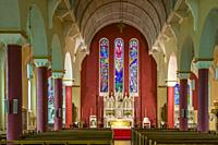 """Interior of St Patricks Catholic Church with 3 bay stained glass window by Ireland's most famous stained glass artist, Harry Clarke"""""""" 1889-1931 . in N..."""