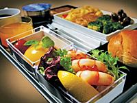 A 380 Inflight Service from Singapore Airlines: a delicious Shrimp salad, brokoli, meat and fruits meal.